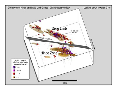 Figure 2: 3D model of current drill results and predicted zone geometries from the Dixie Limb and Hinge Zones, view looking down to north.  Hinge Zone visible to south of Dixie Limb in this view. (CNW Group/Great Bear Resources Ltd.)