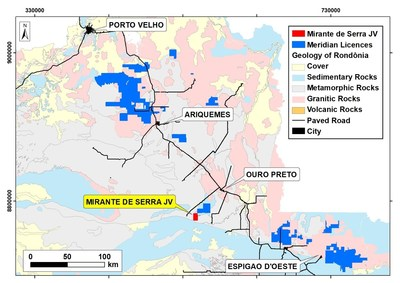 Fig. 1: Regional map of the Project with Espigão operations and the shipping port of Porto Velho. (CNW Group/Meridian Mining S.E.)