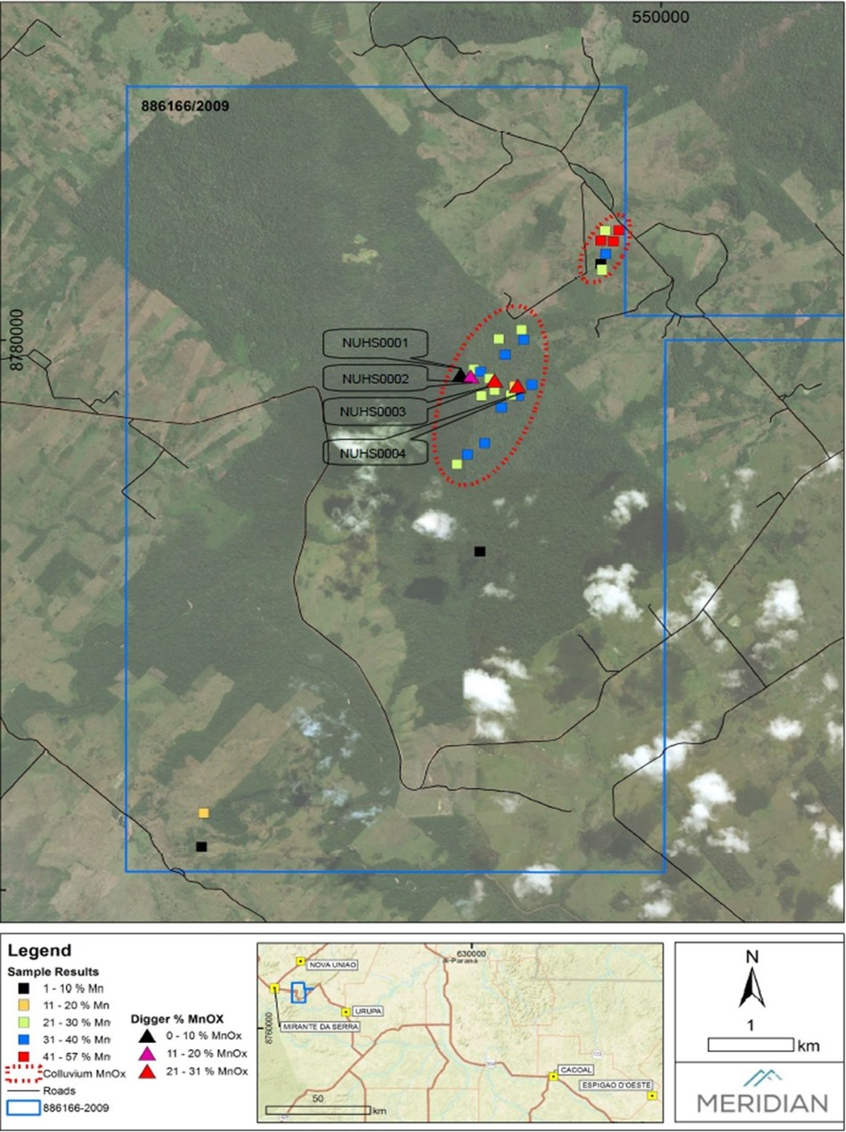 Fig. 3: Field mapping of know manganese occurrences and assayed value range (CNW Group/Meridian Mining S.E.)