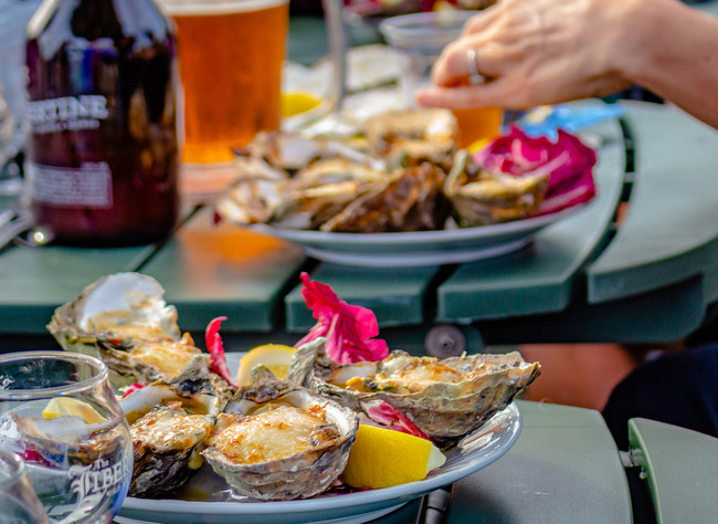 Celebrate National Oyster Day with Oysters Rockefeller at Tognazzini's Dockside Restaurant in Morro Bay, CA.