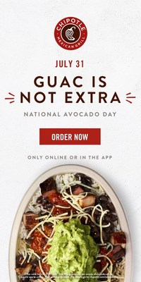 Chipotle Mexican Grill announced today it's celebrating National Avocado Day on Tuesday, July 31st by offering free guac on any entrée purchased in Chipotle's app or on chipotle.com.