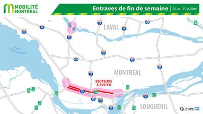 Carte générale des entraves, fin de semaine du 26 juillet (Groupe CNW/Ministère des Transports)