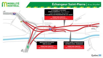 A20 EST et échangeur Saint-Pierre, fin de semaine du 26 juillet (Groupe CNW/Ministère des Transports)