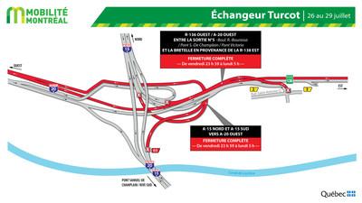 Échangeur Turcot, R136 et A20 OUEST, fin de semaine du 26 juillet (Groupe CNW/Ministère des Transports)