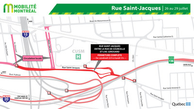 Projet Turcot, rue Saint-Jacques, fin de semaine du 26 juillet (Groupe CNW/Ministère des Transports)