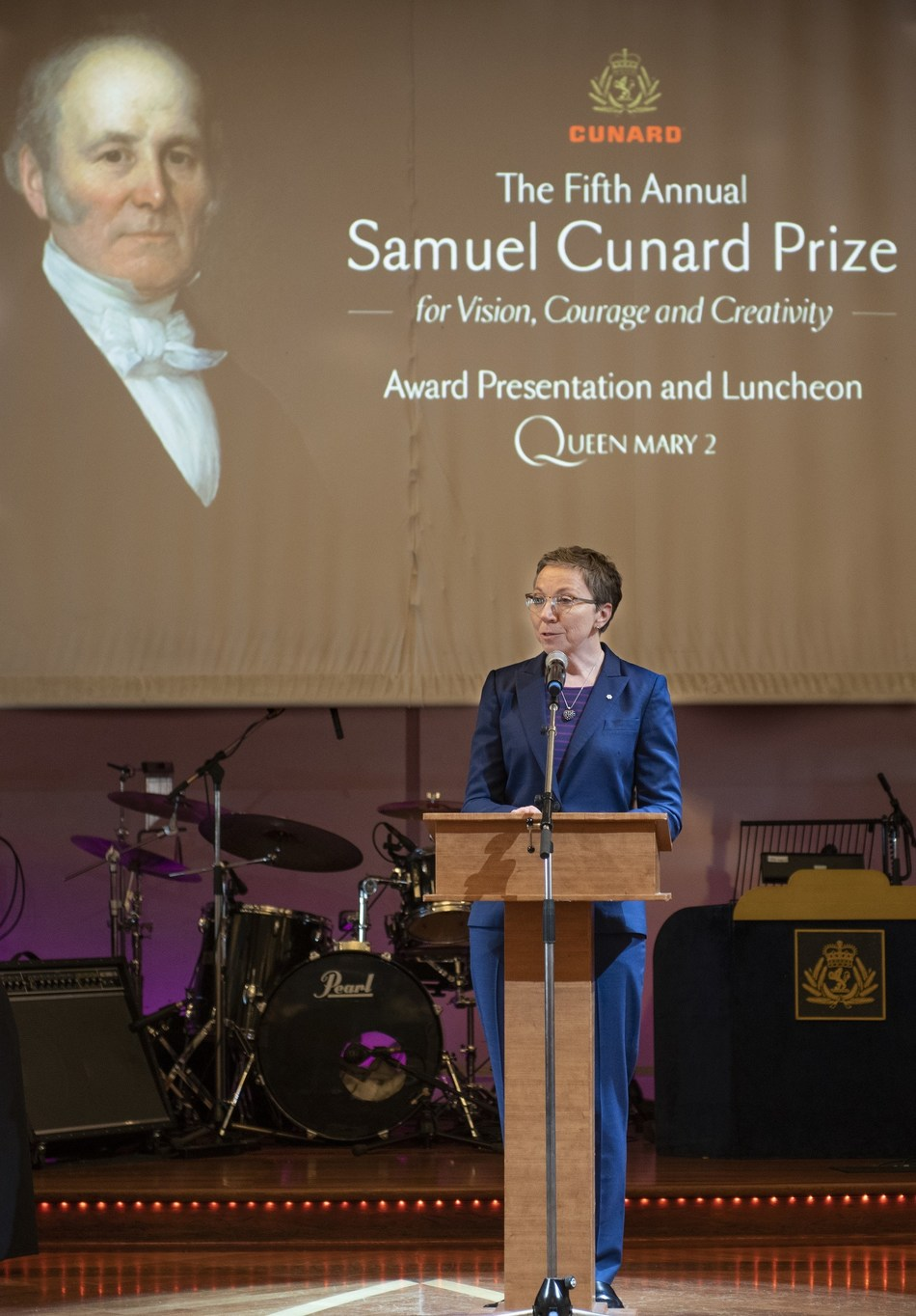 Founder and CEO of Shorefast Foundation & Fogo Island Inn, Zita Cobb, accepts the Samuel Cunard Prize for Vision, Courage and Creativity onboard Queen Mary 2 in Halifax, Nova Scoita on Friday, July 26, 2019. (Photo Credit: Steve Farmer for Cunard)