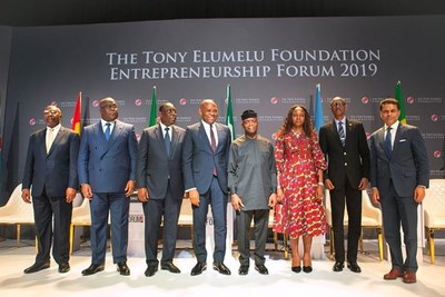 L-r: Prime Minister of Uganda, H.E. (Dr.) Ruhakana Rugunda; President of Democratic Republic of Congo, H.E. Felix Tshisekedi; President of Senegal, H.E. Macky Sall;  The Founder, The Tony Elumelu Foundation, Mr. Tony Elumelu;  Vice President of Nigeria, H.E. (Prof) Yemi Osibanjo; Wife of the Founder, The Tony Elumelu Foundation, Dr Awele Elumelu; President of Rwanda, H.E. Paul Kagame;  Moderator and  Host Fareed Zakaria GPS, CNN Presenter, Mr. Fareed Zakaria, during the Founder's Presidential Dialogue held at the Tony Elumelu Foundation Entrepreneurship Forum 2019, the largest gathering of African entrepreneurs, held in Abuja on Saturday.