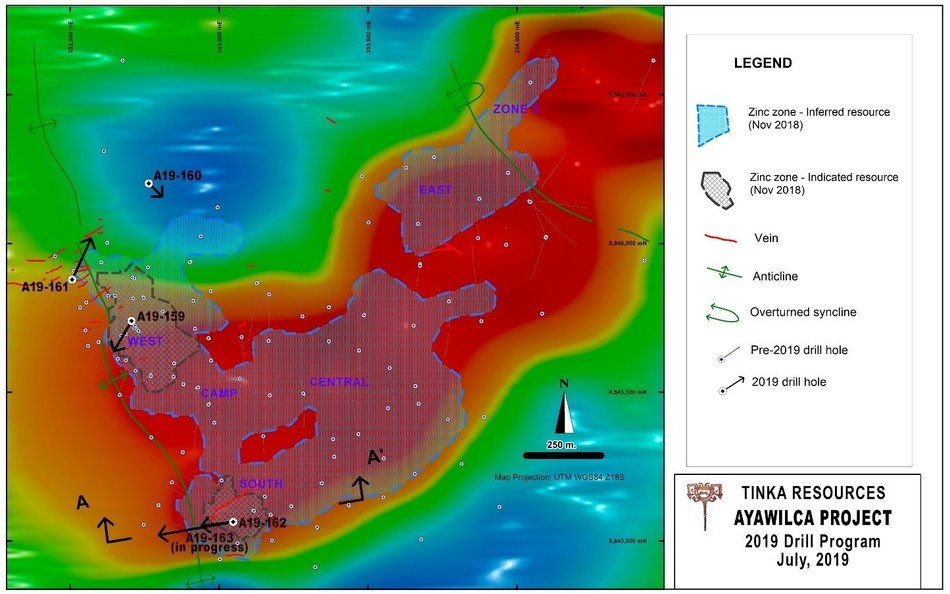Figure 2.  Map showing the airborne magnetics (TMI at 1km) over Ayawilca (CNW Group/Tinka Resources Limited)