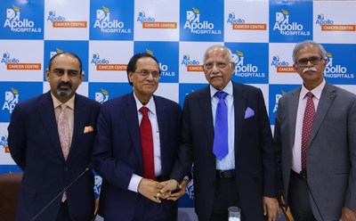 Dr. Prathap Reddy, Chairman, Apollo Hospitals Group (Second from Right), with Dr. Dattatreyudu Nori (Third from right) at the press conference announcing Dr. Nori's appointment as International Director, Apollo Cancer Centers, Apollo Hospitals Group, in New Delhi, on Monday