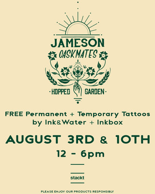 Jameson Caskmates Hopped Garden at Stackt offering Free Tattoos at 'Hop Up Tattoo Shop' (CNW Group/Corby Spirit and Wine Communications)