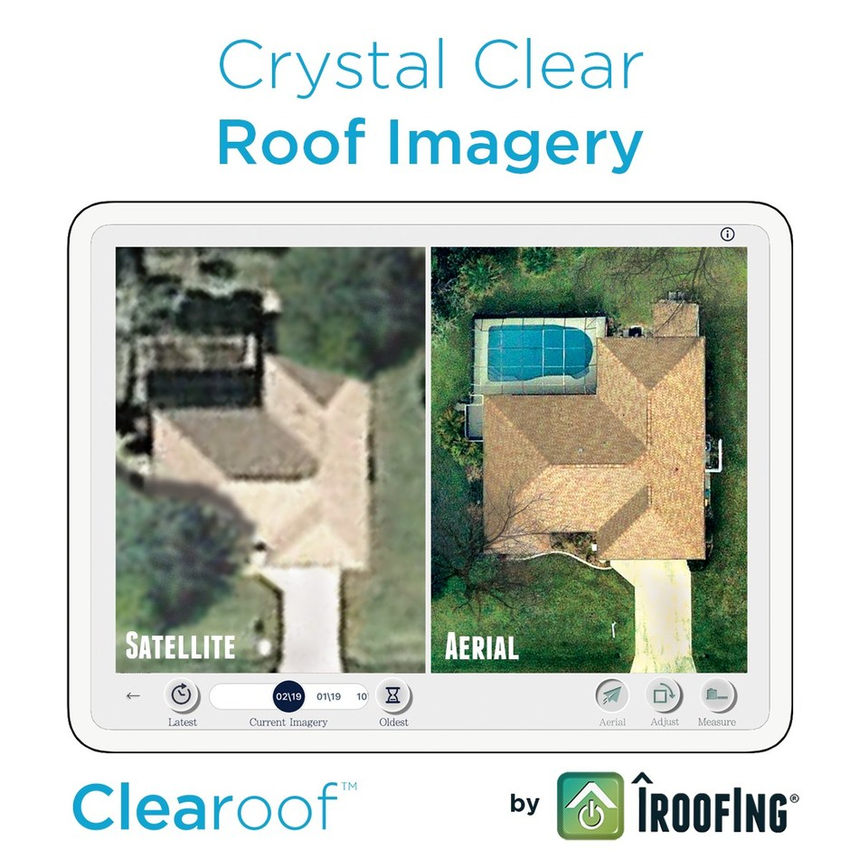 On the left is a standard satellite image. On the right is the same property using Clearoof high-resolution aerial imagery. The Clearoof product is now available to iRoofing subscribers.