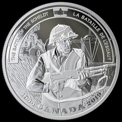 The Royal Canadian Mint's fine silver coin commemorating the 75th anniversary of the Battle of the Scheldt