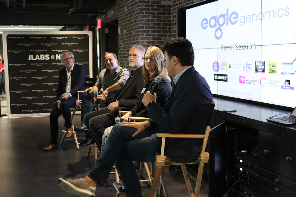 "Industry experts from Unilever, Janssen, Microsoft and ETF Partners discuss ""Will the microbiome revolution happen?"" at the US launch of Eagle Genomics in New York."