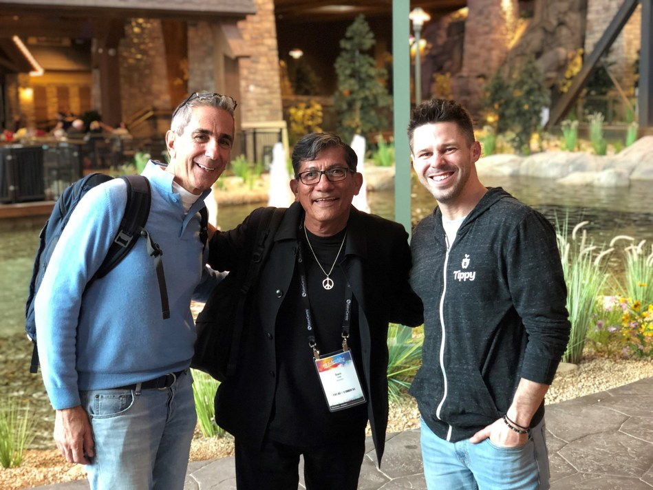 CEO/President of Tippy David Tashjian, nationally acclaimed educator and Global Artistic Ambassador for Redken Sam Villa and Founder and CIO of Tippy Terry McKim at SalonCentric's National Sales Conference in Denver, CO in 2019.