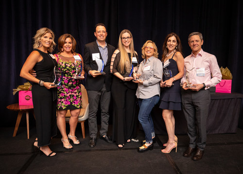 2019 ICMAD Indie Beauty Innovators Award winners. pictured left to right: Kym Dianovich, NuFACE; Alicia Grande, Grande Cosmetics; Lars Callary, Calder+Labs; Stacia Guzzo, SmartyPits; Melisse Shaban, Virtue Labs; Andrea Wetsel, SPF Ventures; and Dr. Mark Gray, AO Skincare.