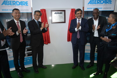 Mr. Ebrahim Patel, and Ambassador Lin Songtian unveiled the Aberdare high-voltage cable production line.