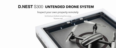 Heisha D.NEST S300 banner, a real product picture with promotion information. A fully automatic drone system, pilots free.