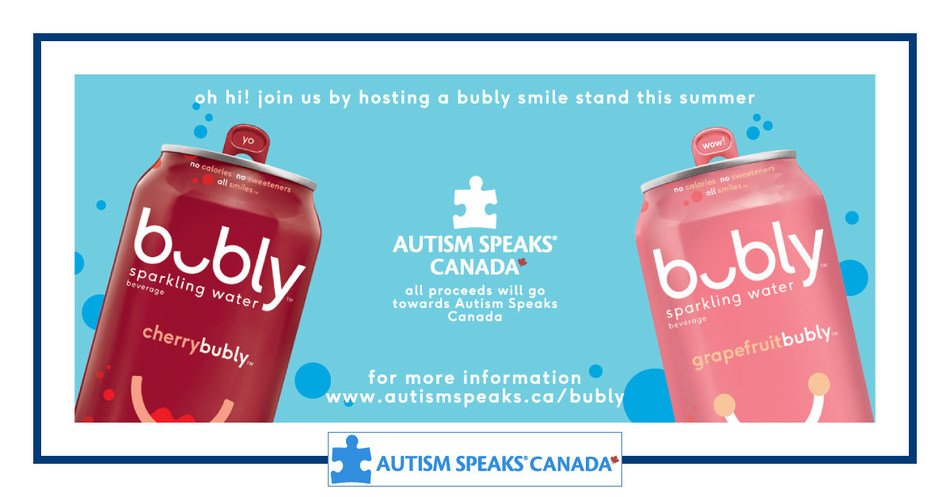 This summer families and friends will come together to increase understanding and acceptance of autism by participating in ASC bubly Smile Stands. You can join the fun by hosting an ASC bubly Smile Stand or by buying a bubly at these smile stands on July 31, 2019 until Sept 2, 2019. All proceeds raised will go towards Autism Speaks Canada. (CNW Group/Autism Speaks Canada)