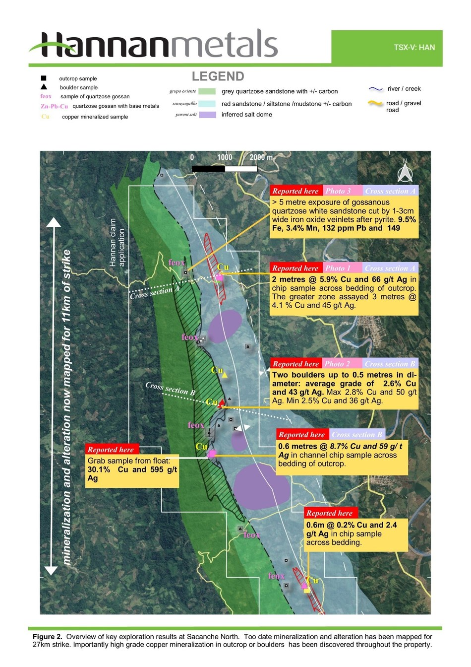 Figure 2.  Overview of key exploration results at Sacanche North. Too date mineralization and alteration has been mapped for 27km strike. Importantly high grade copper mineralization in outcrop or boulders has been discovered throughout the property. (CNW Group/Hannan Metals Ltd.)