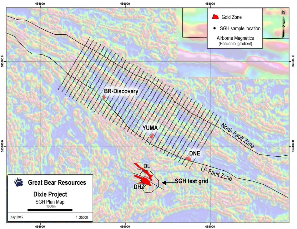Figure 3: The recently completed 2,100 sample SGH grid along 4 kilometres of LP Fault and North Fault.  The locations of various gold mineralized zones drilled to-date are shown in red. (CNW Group/Great Bear Resources Ltd.)