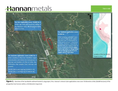 Figure 1.  Overview of the San Martin sediment-hosted Cu-Ag project, Peru. Hannan's mineral claim applications now cover 76 kilometres strike (38,400 hectares) of the prospective host horizon within a 110 kilometre long trend. (CNW Group/Hannan Metals Ltd.)