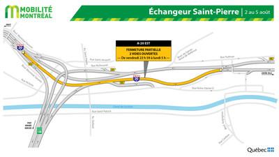 Autoroute 20 EST projet Turcot, fin de semaine du 2 août (Groupe CNW/Ministère des Transports)