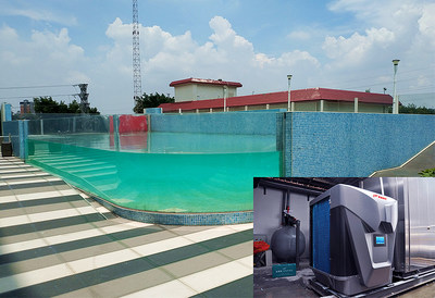 La imagen muestra una aplicación de muestra de la bomba de calor PHNIX para piscinas en China.
