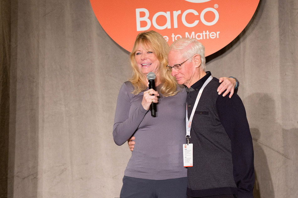 Supermodel Cheryl Tiegs and Michael Donner, chairman of the board, Barco Uniforms, reunited at the company's 90th anniversary celebration in Los Angeles on August 1.
