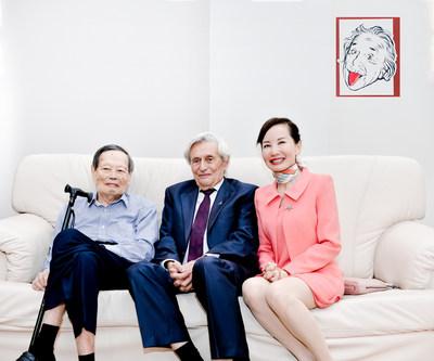 Ctrip CEO Jane Sun (right), Professor Emeritus Hanoch Gutfreund (centre) and Nobel Laureate Yang Chen Ning (left).