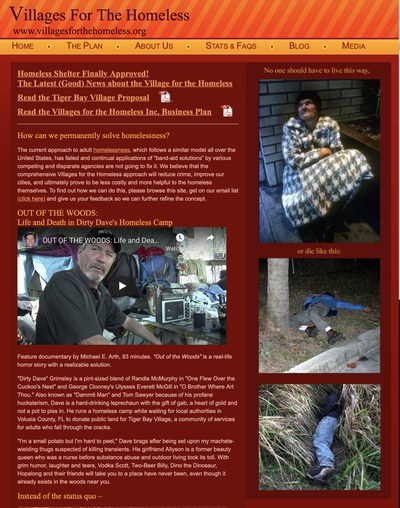 Villages for the Homeless webpage image