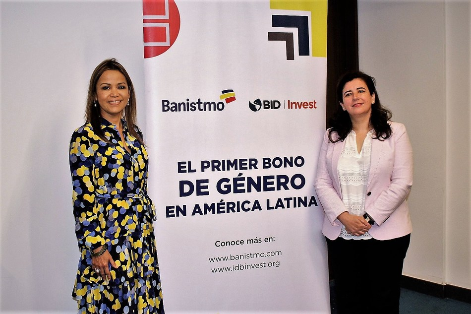 Gema Sacristán, Chief Investment Officer of IDB Invest (right), and Aimeé Sentmat de Grimaldo, Executive President of Banistmo (left) announce the first gender bond issued in Latin America, for $50 million and with a 5-year tenor. The funds captured will be used to finance women-led small and medium enterprises (SMEs) in Panama. The announcement was made at the World Economic Forum in Cartagena, Colombia.