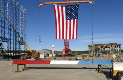 Final beam installed at LRDR site in Clear, Alaska. Photo courtesy of Lockheed Martin.