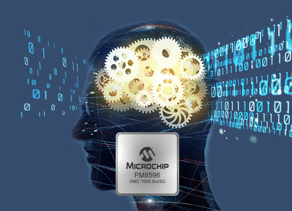 Microchip's SMC 1000 8x25G enables high memory bandwidth required by next-generation CPUs and SoCs for AI and machine learning.