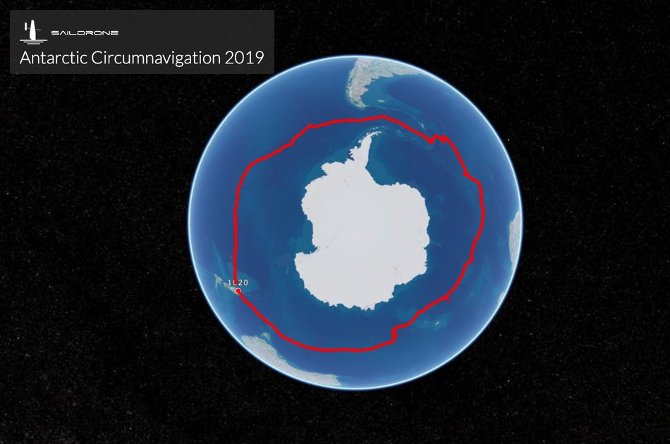 Track of the first Unmanned Circumnavigation of Antarctica completed by Saildrone SD-1020. The 196 day non-stop voyage started and ended in Bluff, New Zealand.