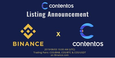 COS, a criptomoeda da Contentos, foi listada na maior exchange do mundo, a Binance.com