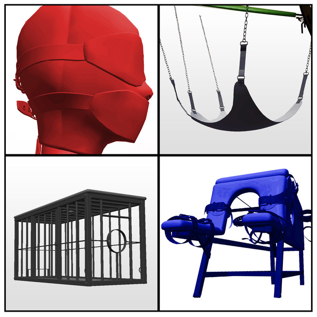 Augmented Reality objects. Bondage Mask, Sex Swing, Bondage Cage, Whipping Board