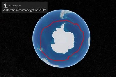 Trajectoire de la première circumnavigation sans pilote de l'Antarctique réalisée par Saildrone SD-1020 Le périple de 196 jours, sans escale, a commencé et s'est terminé à Bluff, en Nouvelle-Zélande. (PRNewsfoto/Saildrone Inc.)