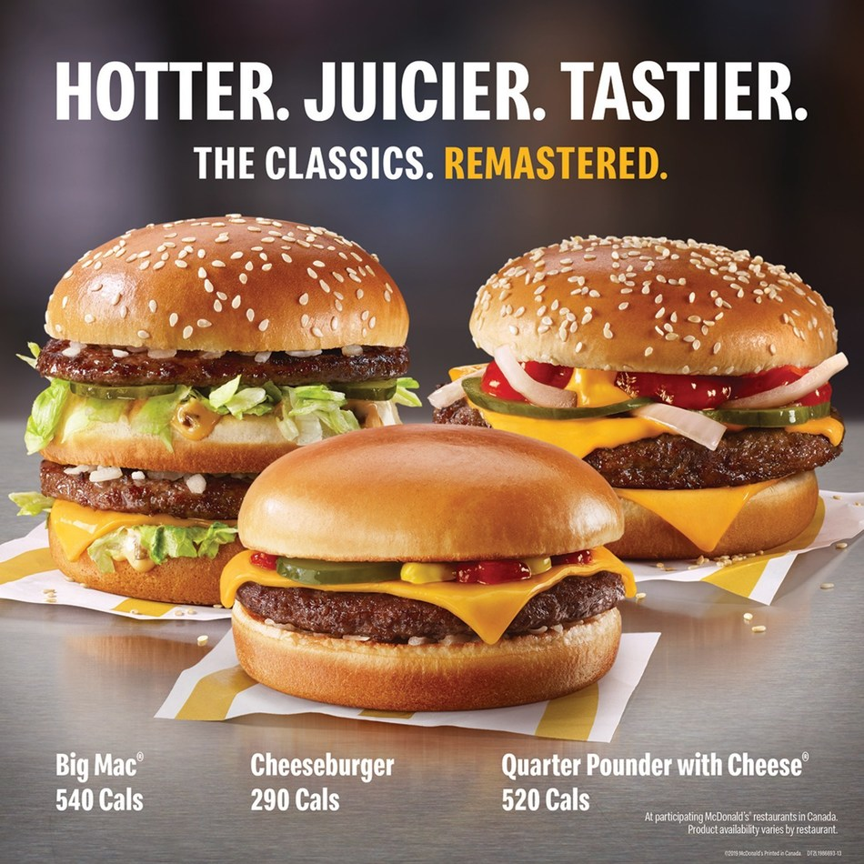 McDonald's Canada today announced its classic delicious burgers will now be hotter, juicer and tastier. The remastered burger lineup includes (from left to right) the Big Mac, cheeseburger and Quarter Pounder. (CNW Group/McDonald's Canada)
