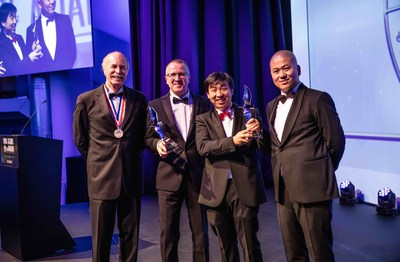 Huazhi Hu (2nd from right), the founder, chairman, and CEO of EHang, has been recognized as the Living Legends of Aviation Awards Europe
