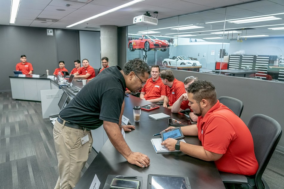 The 12 top applicants are accepted into the 23-week program consisting of 16 core and 38 web-based courses. Photo: Porsche Cars North America, Inc.