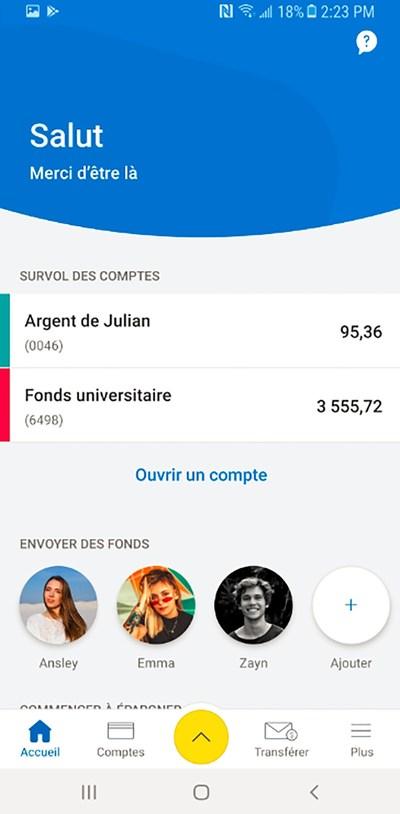Tableau de bord Android pour RBC Mobile Student Edition (Groupe CNW/RBC Banque Royale)