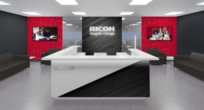 Lobby rendering of Ricoh's new U headquarters in Exton, PA