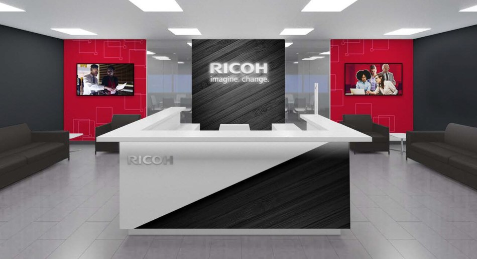 Lobby rendering of Ricoh's new US headquarters in Exton, PA