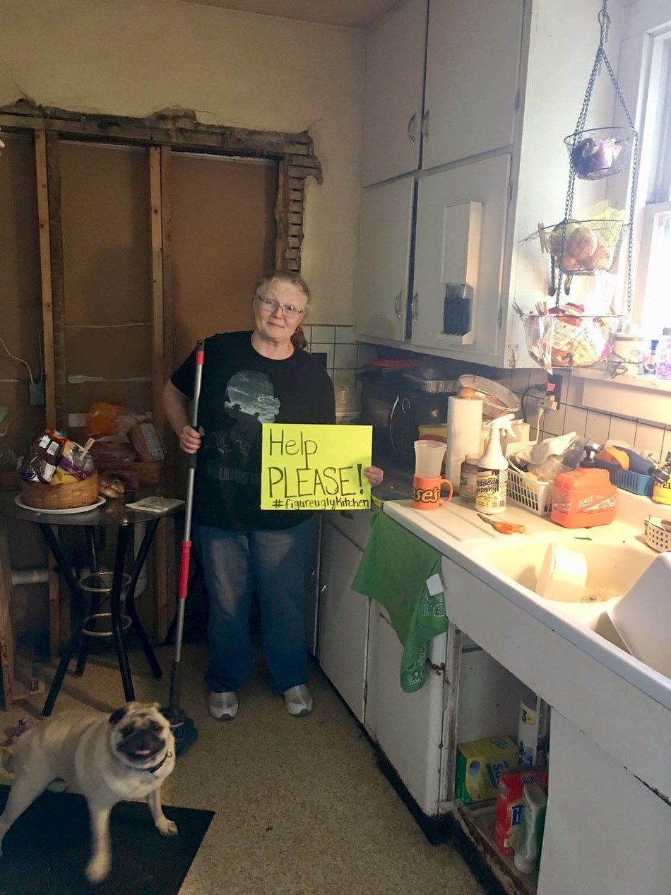 """The original submission photo of Figure's Ugly Kitchen Contest Winner, Robin Kidwell. Robin's kitchen is missing parts of a wall, has almost no lighting and bad plumbing. She won Figure Technologies $25,000 """"America's Ugliest Kitchen"""" contest. The house is located in Bloomington, IL."""