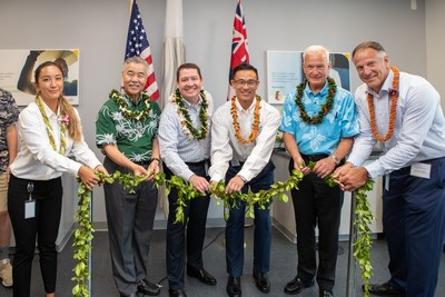 Accredo, a specialty pharmacy that serves people who take medications for complex and rare conditions, today opened a new, full-service pharmacy in Hawaii. The grand opening ceremony included a traditional untying of the maile lei. From left: Quinn Taira, lead pharmacist, Hawaii Governor David Ige, Accredo president Brian Seiz, Corey Fujii, senior director and general manager, Accredo, Honolulu Mayor Kirk Caldwell, and Vic Perini, vice president, Specialty Sales and Account Management.