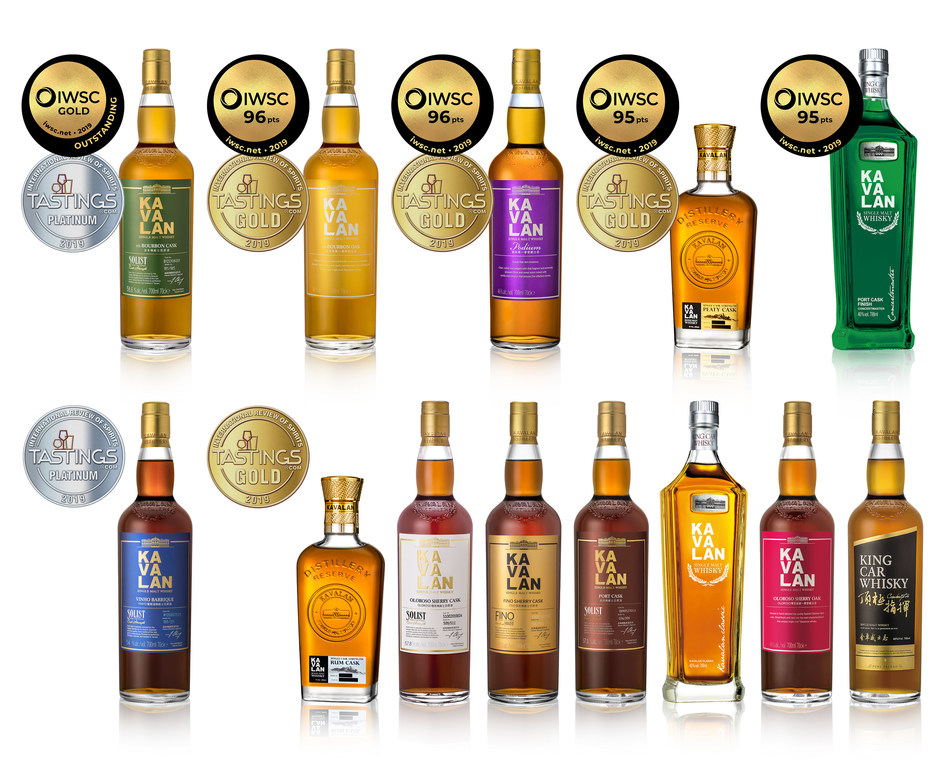 Kavalan Distillery wins 'Gold Outstanding', 'Golds' and 'Platinums' at the recent IWSC and IRS. (PRNewsfoto/Kavalan)