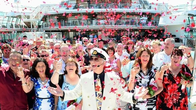 Princess Cruises Ambassador Gavin MacLeod  will officiate a ceremony onboard Regal Princess during a Valentine's Day cruise in February 2020, in an attempt to set the record for the largest renewals of vows at sea. (Photo Credit: James Morgan)