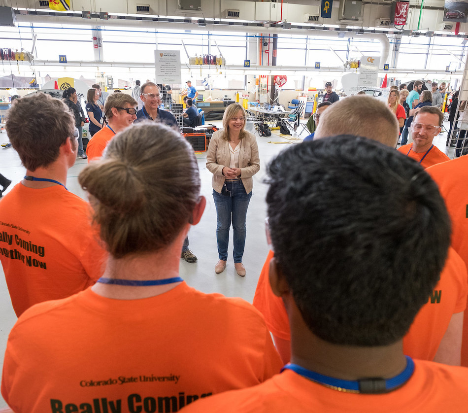 General Motors CEO, Mary Barra, speaking with EcoCAR students at the GM Proving Grounds in Milford, Michigan.  General Motors recruits students who are looking for careers in automotive, autonomous and mobility areas from the EcoCAR competition.