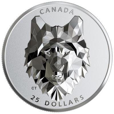 La pièce en argent à extreme relief Têtes d'animal à multiples facettes : Loup de la Monnaie royale canadienne (Groupe CNW/Monnaie royale canadienne)