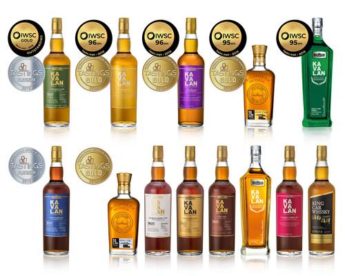 La distillerie Kavalan a remporté des prix « Gold Outstanding », « Gold » et « Platinum » lors des dernières éditions de l'IWSC et de l'IRS. (PRNewsfoto/Kavalan)